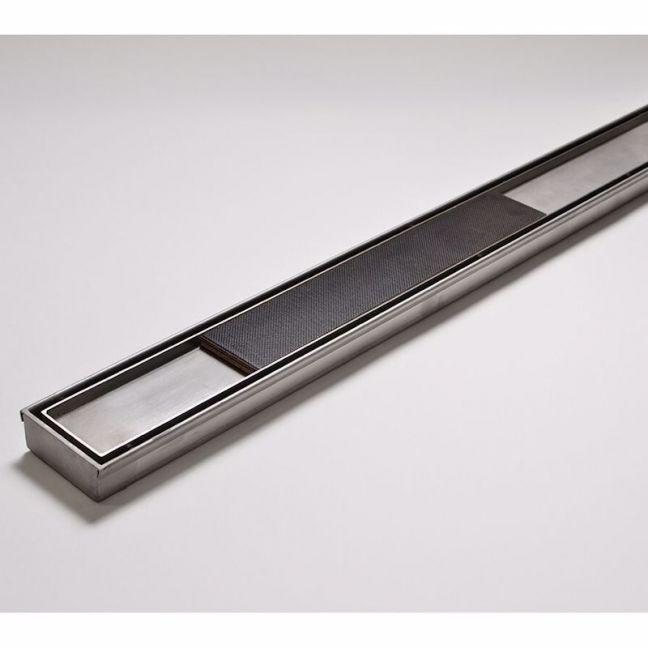 Kado Lux Tile Insert Channel Welded Ends Centre Outlet Satin 1500mm | Reece