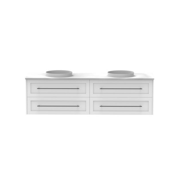 Kado Lux Wall Hung Vanity Unit 4 Drawers Double Bowl