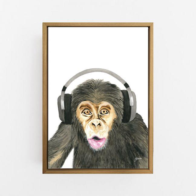 Kelvin the Music Monkey Wall Art Print   by Pick a Pear   Canvas