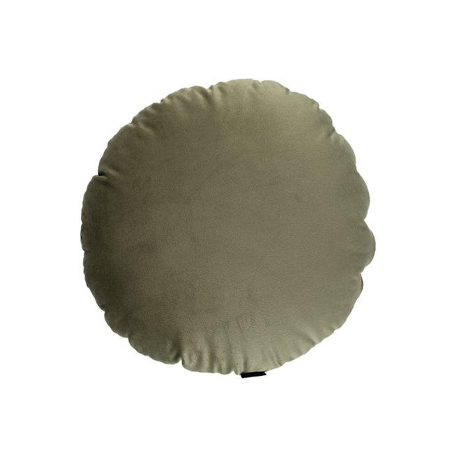 Khaki Green Velvet Round Cushion