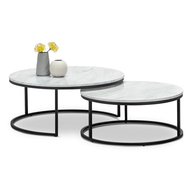 Khloe White Marble Round Nest Coffee Table   Black