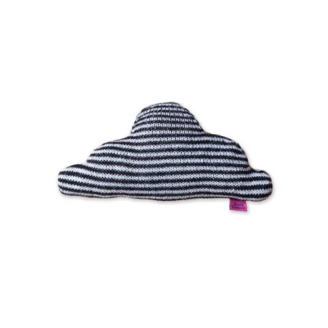 Knitted Cloud Cushion by Homely Creatures | Stripe Black & Cream | Small
