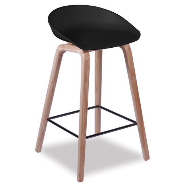 Kobe Stool | Natural American Ash Frame | Black Shell Seat