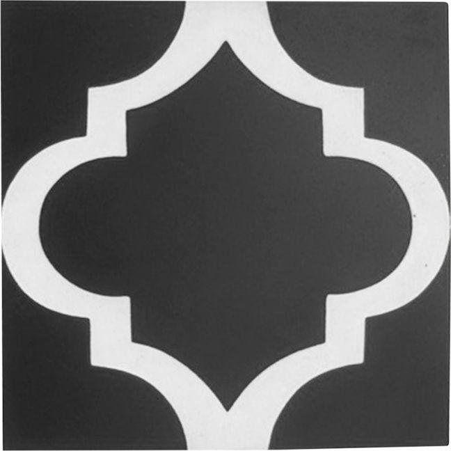 Lantern Encaustic Tile   Black & White   Schots