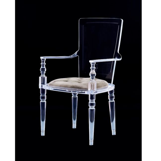 Laurence Lucite Acrylic Dining Chair with Chesterfield Cushion