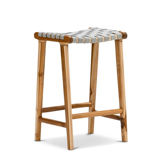 Lazie Leather Strapping Bar Stool | Teak & Natural Tan | 66cm