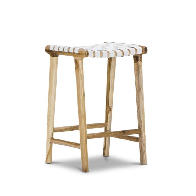 Lazie Leather Strapping Bar Stool | Teak & White | 66cm