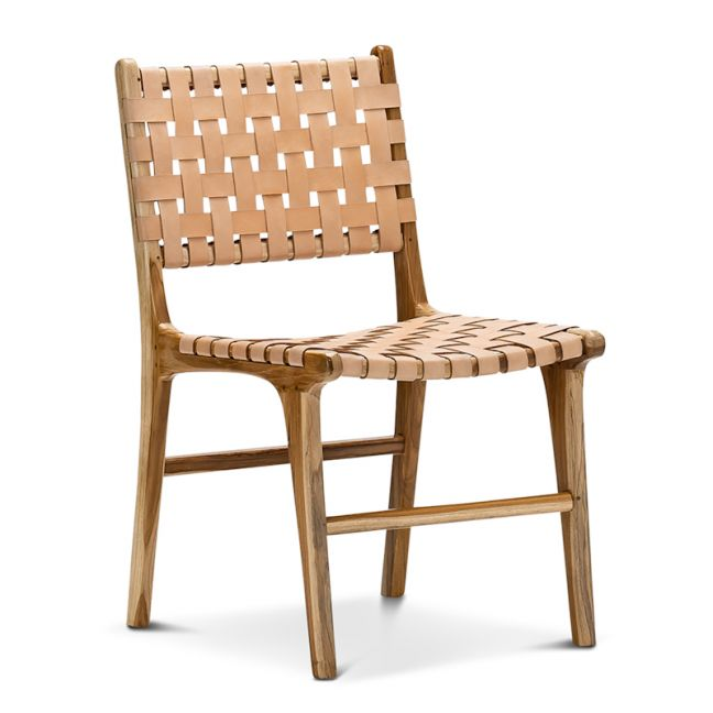 Lazie Leather Strapping Dining Chair   Teak & Natural Tan   Set of 2