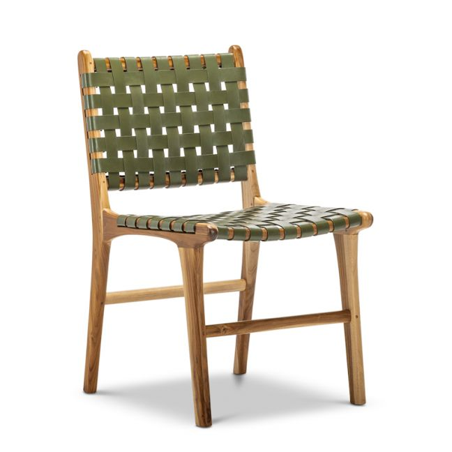 Lazie Leather Strapping Dining Chair | Teak & Olive Green | Set of 2