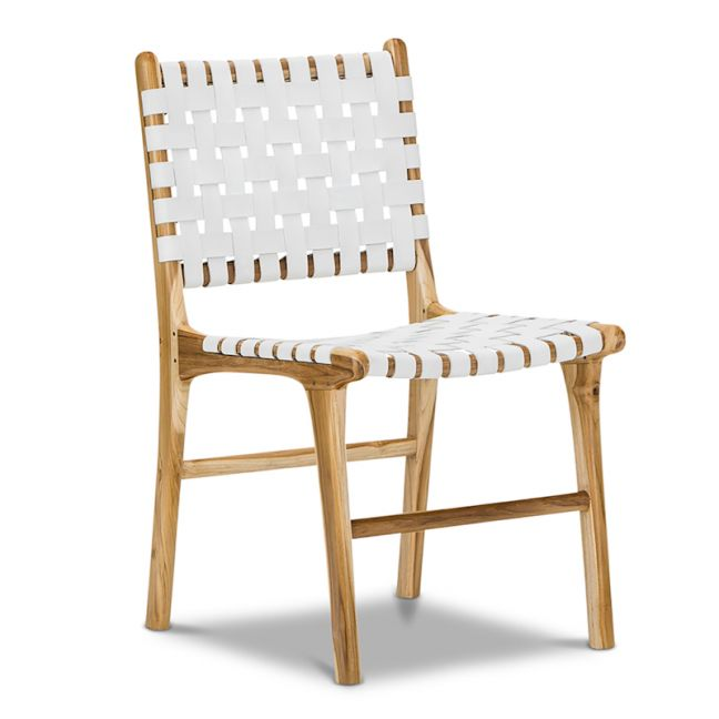 Lazie Leather Strapping Dining Chair   Teak & White   Set of 2