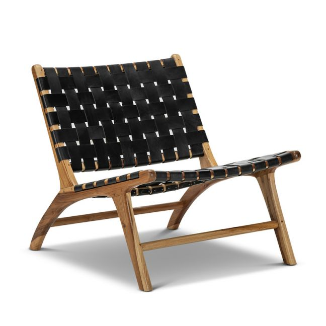Lazie Leather Strapping Lounge Chair   Teak & Black