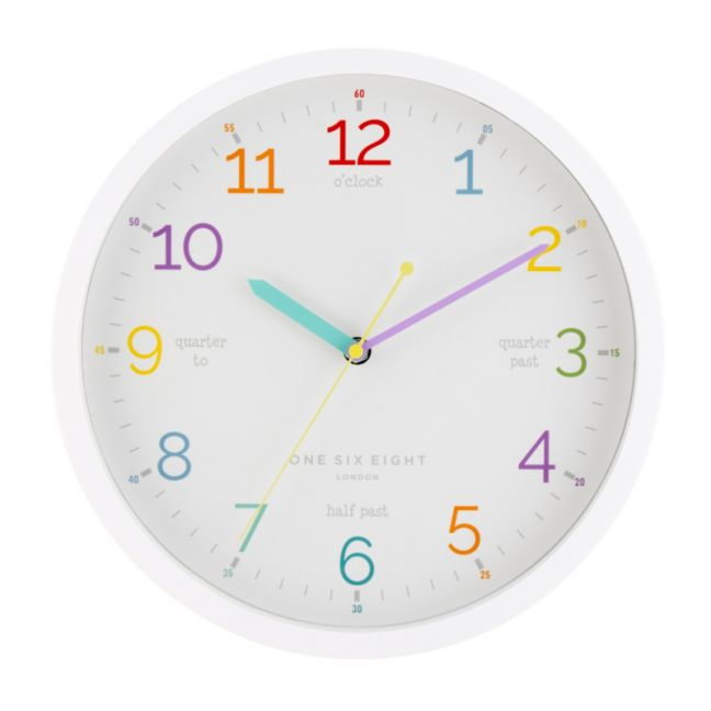 Learn The Time Wall Clock | Silent | 30cm | White | One Six Eight London