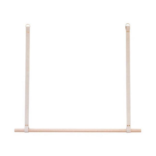 Leather Hanging Rail | Oak | Mushroom Suede