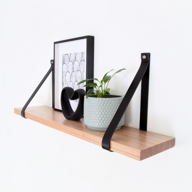 Leather Strap Shelf 70cm | Black Leather | Jemmervale Designs