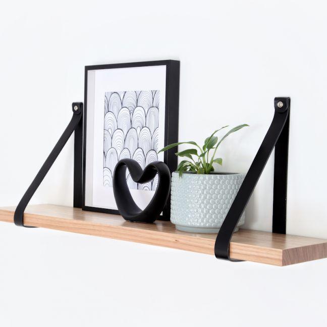 Leather Strap Shelf   90cm   Black Leather   Jemmervale Designs