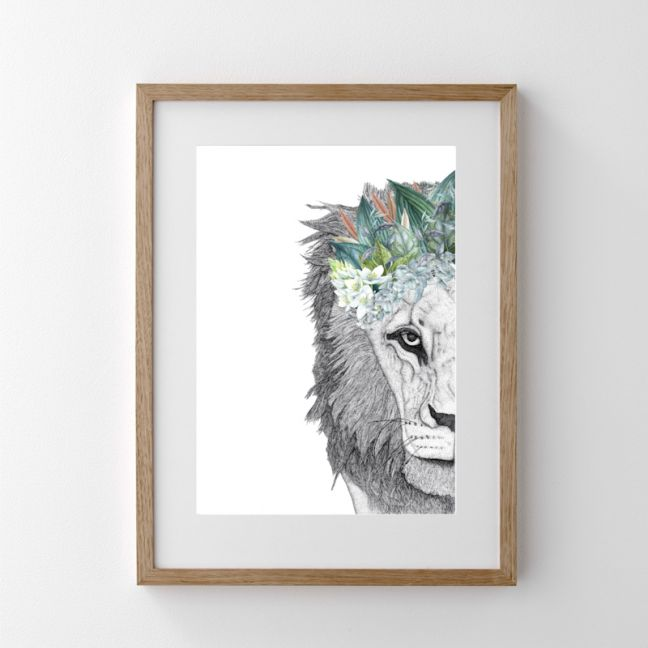 Leo the Lion with Foliage Crown   Print