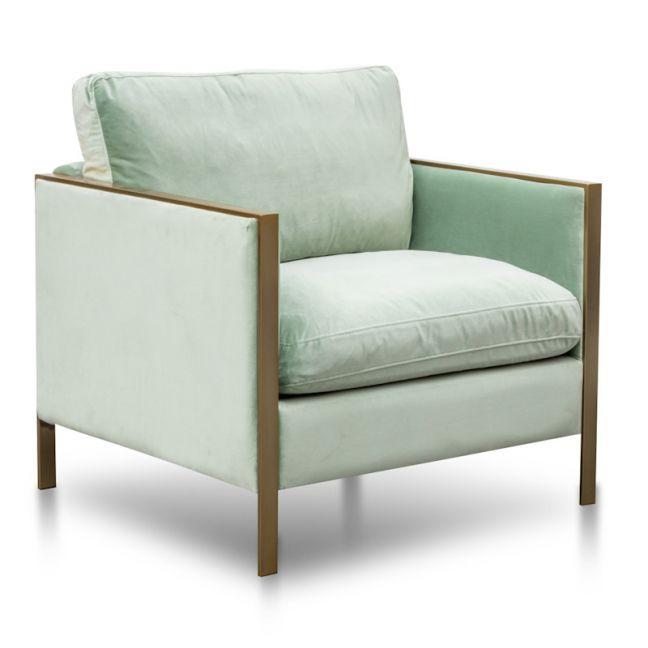 Leona Fabric Arm Chair | Light Green Velvet