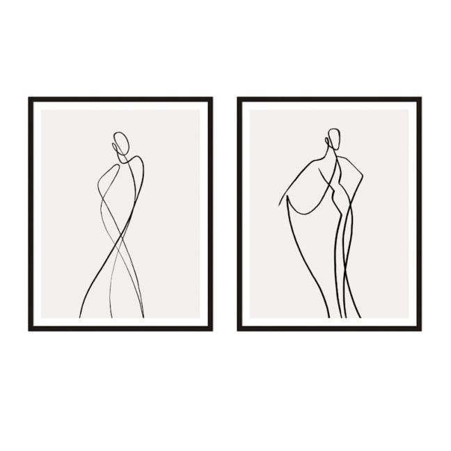Line Girl | Framed Print Set | ArteFocus
