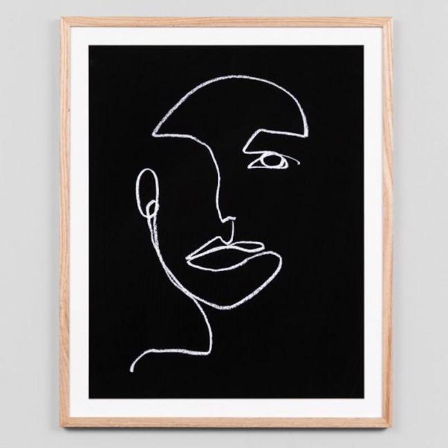 Line Portrait Night 2 | Framed Art Print