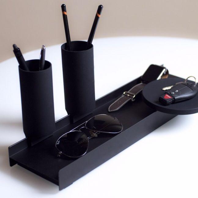 Linea by Jim Hannon-Tan | WFH | Tabletop Organiser | Silver Tray + Black Silicone
