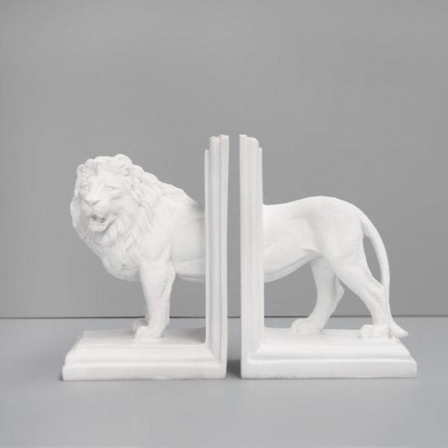 Lion Bookends | White