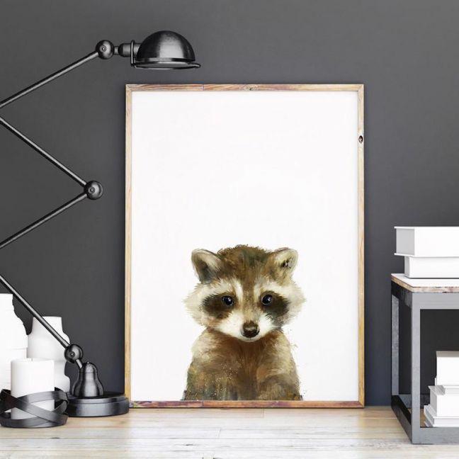 Little Raccoon by Amy Hamilton | Unframed Art Print
