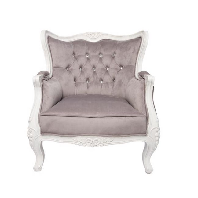 Louis 1 Seater   White Mahogany and Silver/Grey Velvet