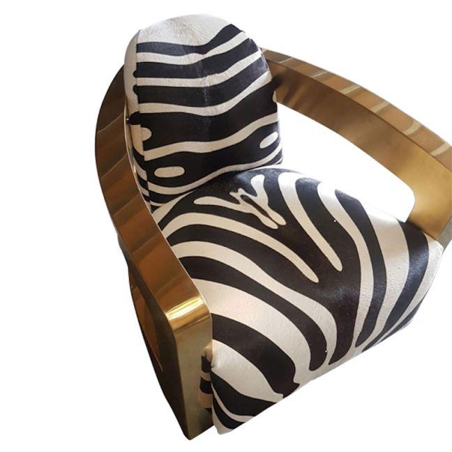 Lulu Brass & Zebra Cowhide Armchair   by Cocolea Furniture