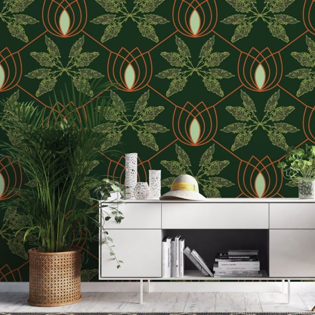 Lydia - Nature's Glamour | Eco Wallpaper | Deep Green | Amba Florette