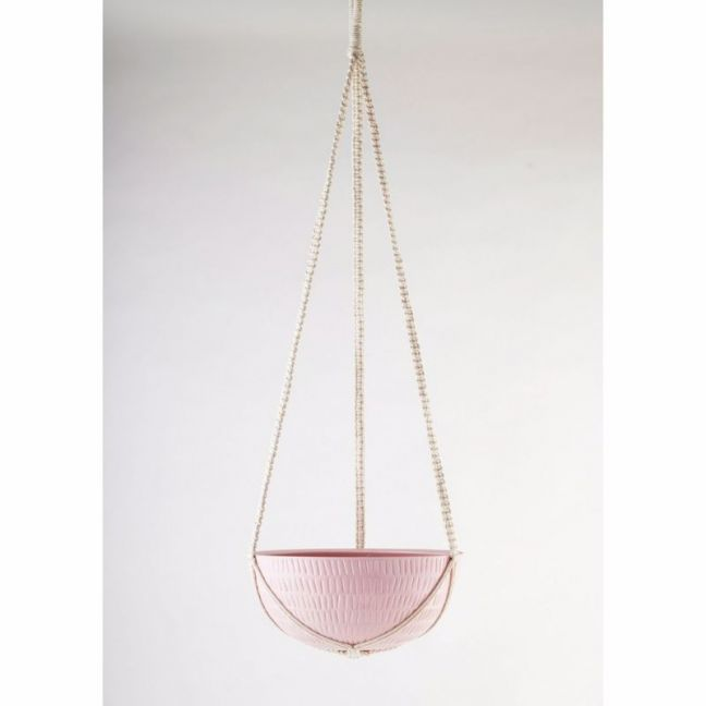 Macrame Hanging Planter | Bright Pink | Large by Angus & Celeste