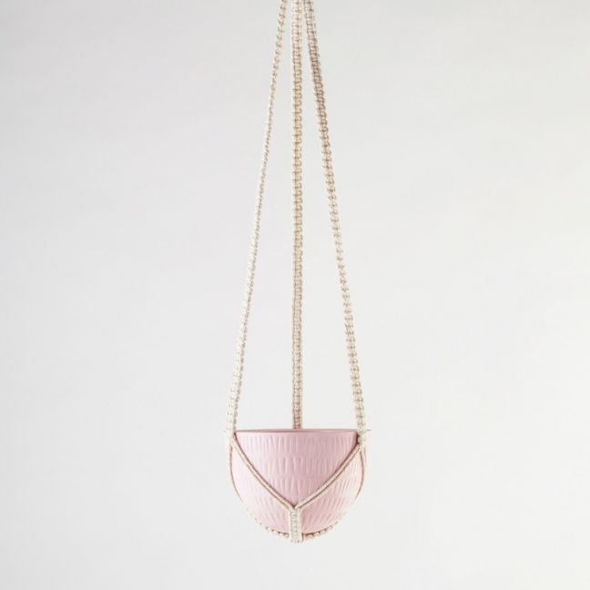 Macrame Hanging Planter | Bright Pink | Small by Angus & Celeste