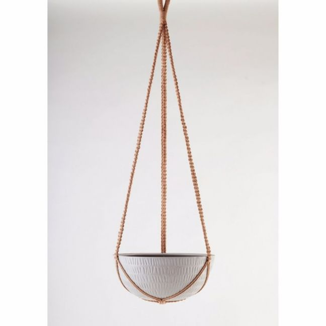 Macrame Hanging Planter | Grey | Large by Angus & Celeste
