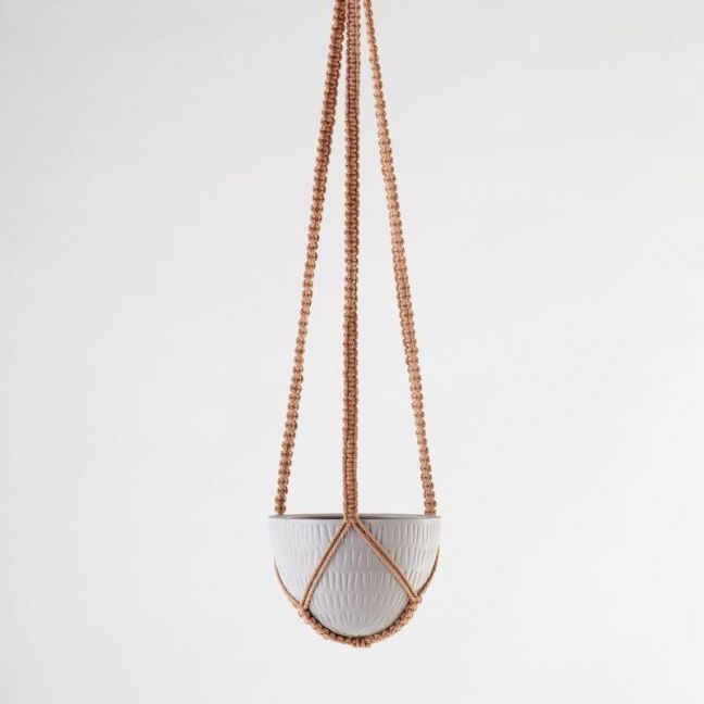 Macrame Hanging Planter | Grey | Small by Angus & Celeste
