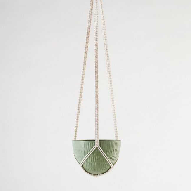 Macrame Hanging Planter | Olive Green | Small by Angus & Celeste