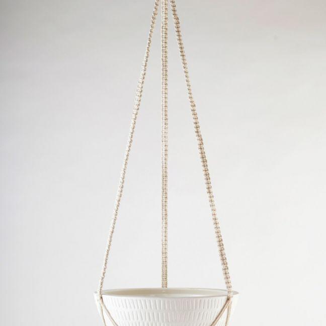 Macrame Hanging Planter | White | Large by Angus & Celeste
