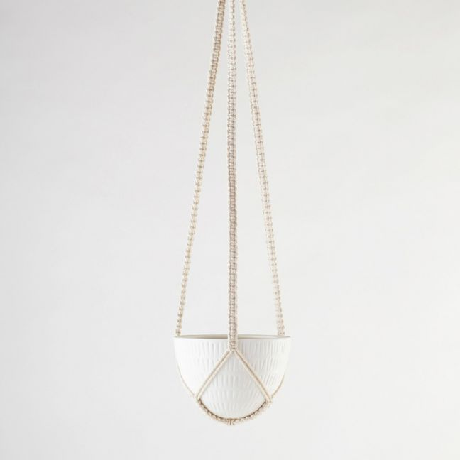 Macrame Hanging Planter | White | Small by Angus & Celeste