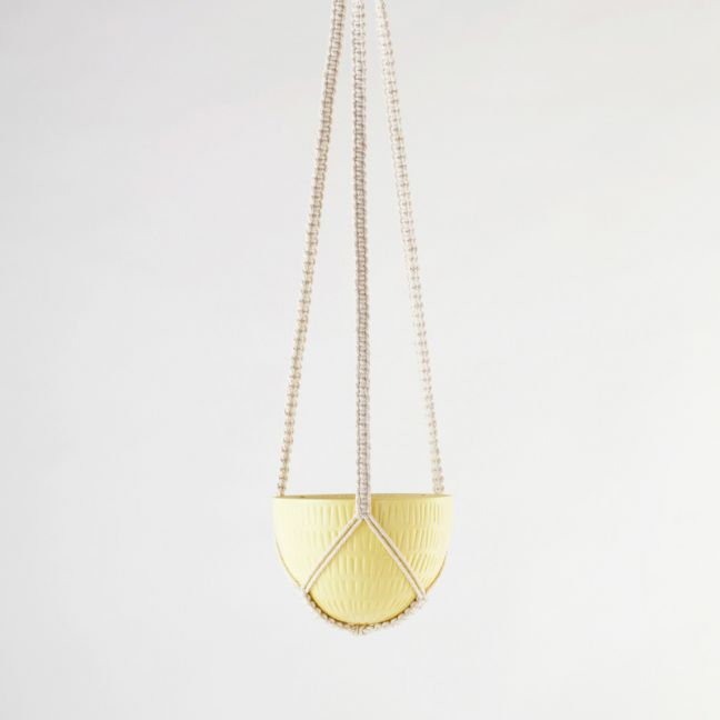 Macrame Hanging Planter | Yellow | Small by Angus & Celeste
