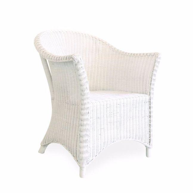 Madison Rattan Arm Chair   White   By Black Mango