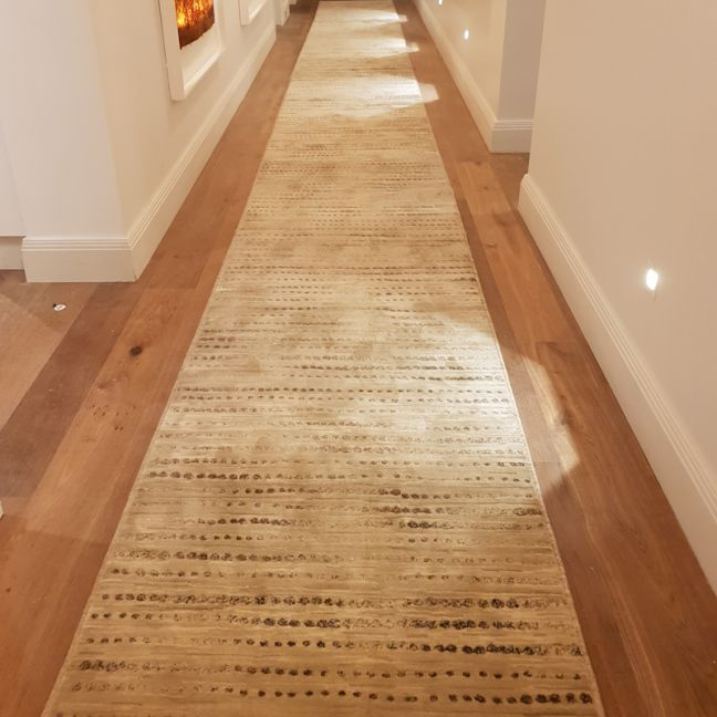 Madrid Beige Dots Hall Runner | Customized Length | Charged by the Metre