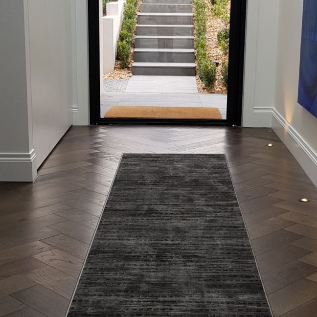Madrid Dots Charcoal Hall Runner   Customized Length - Due back in stock End of September 2020