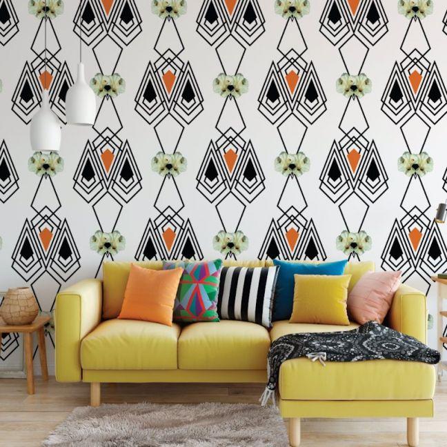 Marilyn - Nature's Glamour | Eco Wallpaper | Marilyn Orange Black | Amba Florette