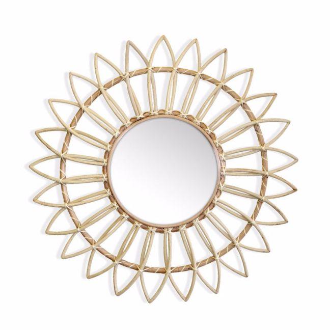 Marley Rattan Sunflower Mirror 60cm | Natural | by Black Mango