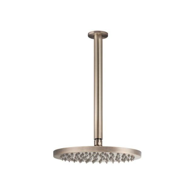 Meir Round Ceiling Shower 200mm rose, 300mm dropper - Champagne