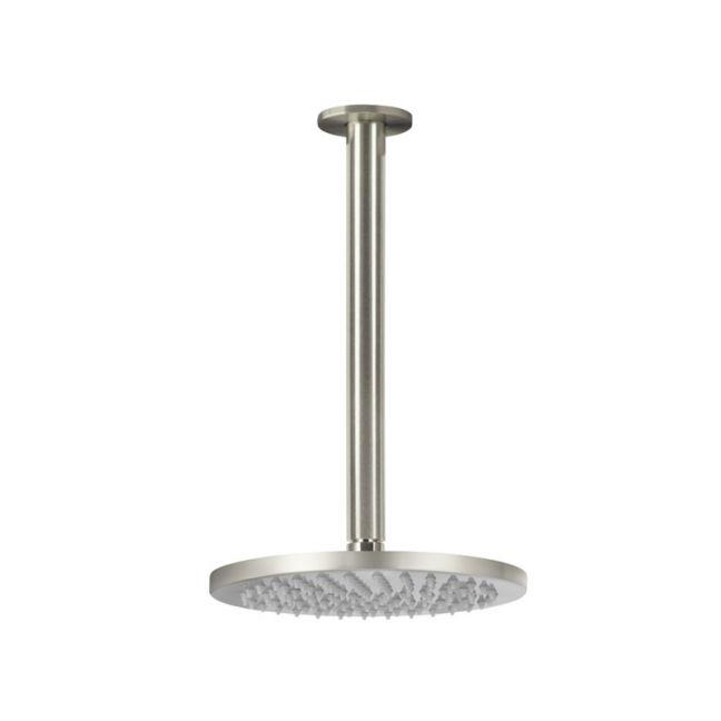 Meir Round Ceiling Shower 200mm Rose, 300mm Dropper - PVD Brushed Nickel