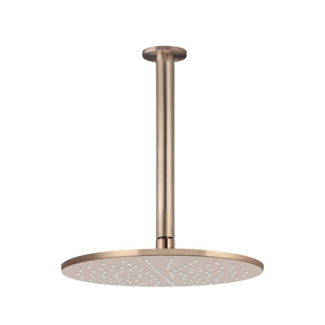 Meir Round Ceiling Shower 300mm rose, 300mm dropper - Champagne
