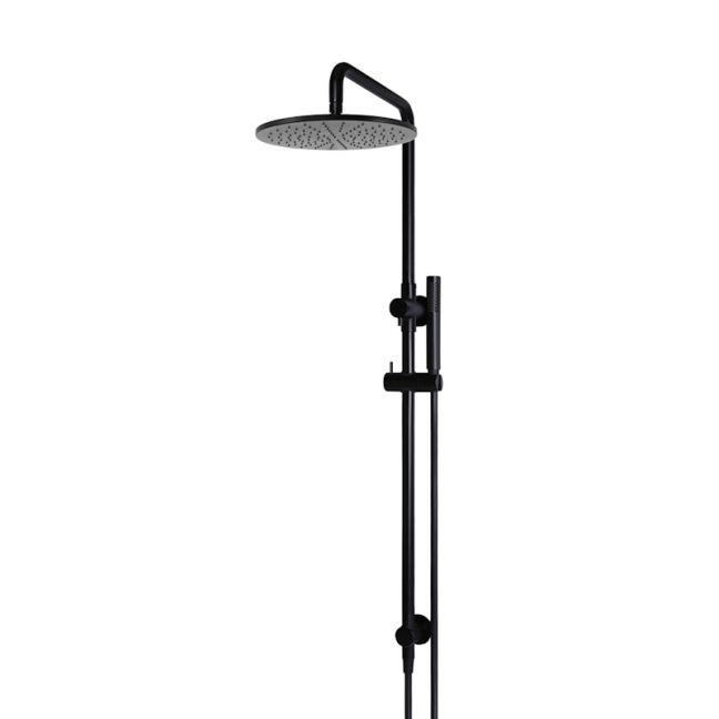 Meir Round Combination Shower Rail | 300mm Rose | Single Function Hand Shower | Matte Black