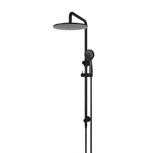 Meir Round Combination Shower Rail   300mm Rose   Three-Function Hand Shower   Matte Black