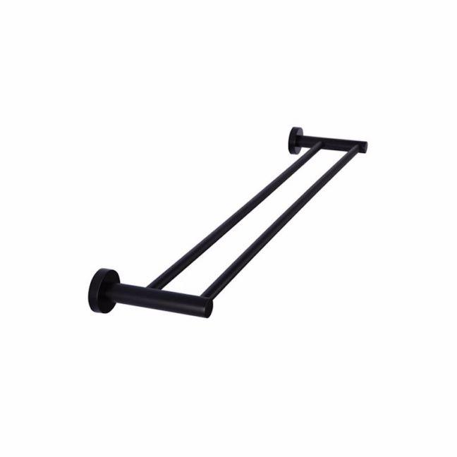 Meir Round Matte Black Double Towel Rail 600mm
