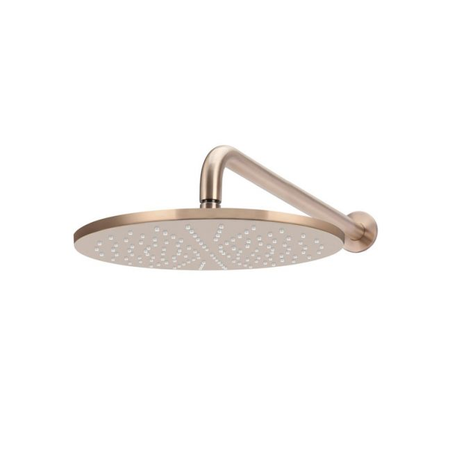 Meir Round Wall Shower | 300mm rose | 400mm curved arm | Champagne