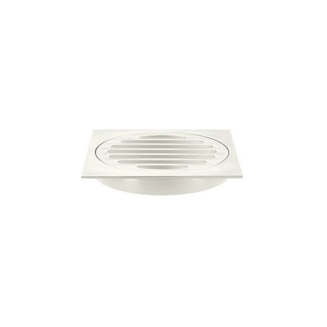 Meir Square Floor Grate Shower Drain | 100mm Outlet | Brushed Nickel
